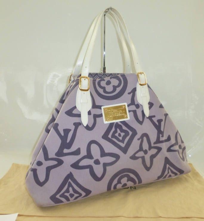 Louis Vuitton purple tahitienne cabas beach bag by kittybutlerltd on Etsy