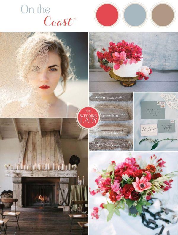On the Coast - a Driftwood and Crimson Rustic Beach Wedding | See More! http://heyweddinglady.com/driftwood-and-crimson-coastal-wedding-inspiration/