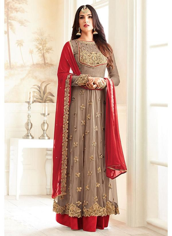 Embroidered Net Party Wear Abaya Style Suit