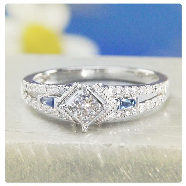 Zales 1/5 CT. T.w. Composite Square Diamond Vintage-Style Promise Ring in 10K White Gold iRA6r5eJ4