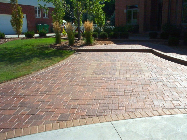 paver pattern against concrete slab