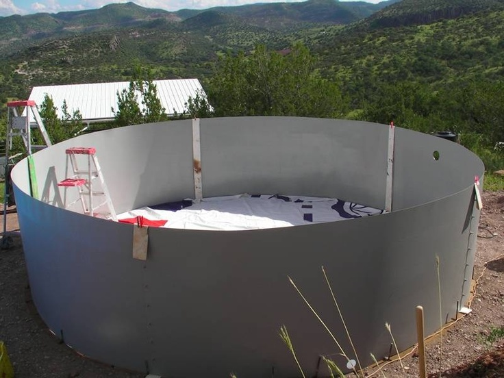 Free Standing Above Ground Swimming Pools: Making A Cistern ... Sheet Metal Walls, Vinyl Liner