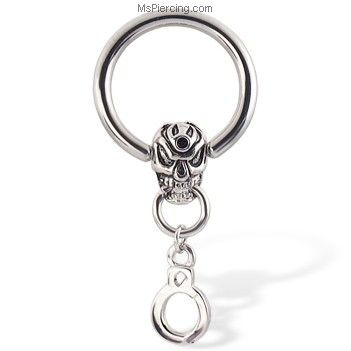 Captive Bead Ring With Skull And Handcuffs, 12 Ga on MsPiercing