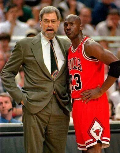 Coach Phil Jackson and Michael Jordan