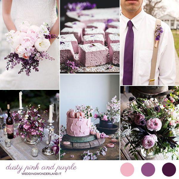 dusty pink and purple wedding inspiration | more on http://weddingwonderland.it/2015/10/matrimonio-viola-e-rosa-cipria.html