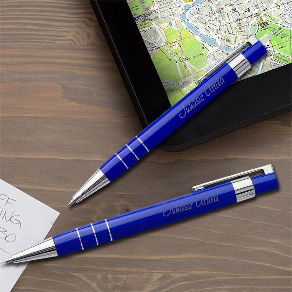Lakozott gravírozott tollkészlet tolltartóval - kék