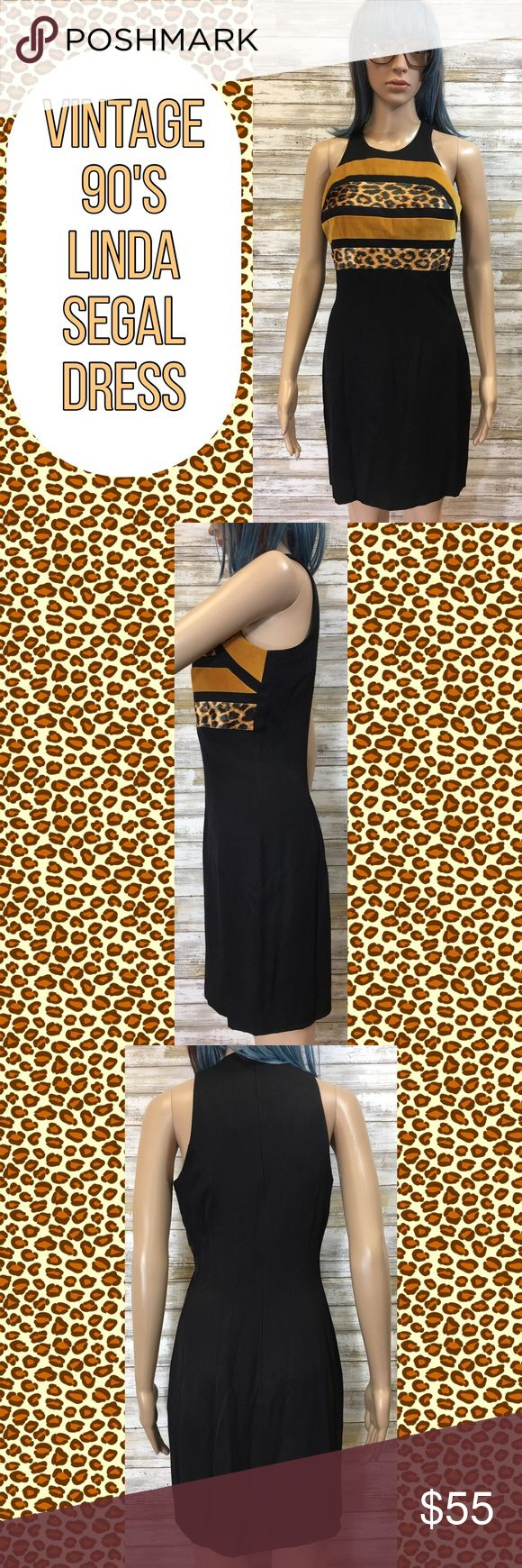 """Vintage Animal Print Linda Segal Sheath Dress Vintage 90's Linda Segal Animal Print Sheath Dress. Black with animal print across the bust. Size 4. Marks on the inside of the straps. Dry clean only. Made in the USA. Material: 30% cotton, 28% polyester, 19% rayon, 15% acetate and 5% lycra. Measurements (flat): armpit to armpit: 16.75""""; waist: 14.25""""; bottom hem: 17.75""""; length: 30.5"""". Vintage Dresses"""