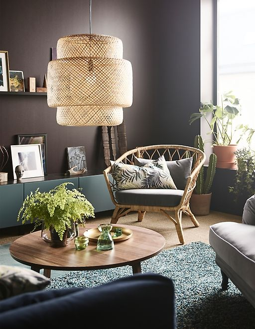 Curate your living room with modern living room furniture from IKEA! Use a mixture of different styles, and don't be afraid to mix different style groups, such as IKEA STOCKHOLM rattan chair and the STOCKSUND armchair in grey/black/wood.