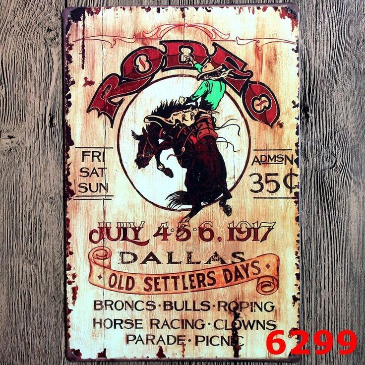 Metal Tin Sign rodeo Decor Bar Pub Home Vintage Retro Poster Cafe ART $7.49