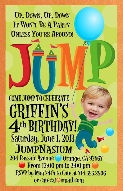 Are you having a birthday party at a Jump House like Bounce-U and you refuse to send out those awful cheap invites they give you? Then you need to order this adorable Jumpy birthday invitation and send out your party info in style!    Upload a photo of the birthday boy/girl and we will put it on the front of your invite! www.delightinvite.com