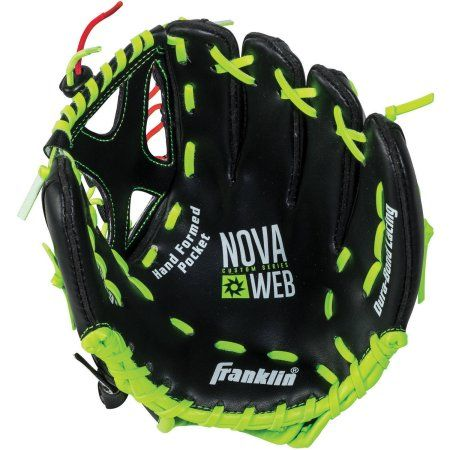 Franklin Sports Novaweb Custom Series Baseball Glove Right Handed Thrower Green Baseball Equipment Baseball Score Keeping Softball Gloves