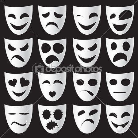Isolated theatre masks expressing different emotions