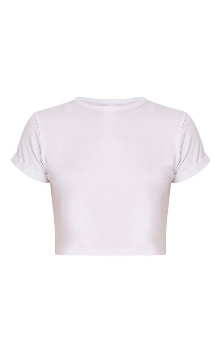 Basic White Roll Sleeve Crop T Shirt Image 3
