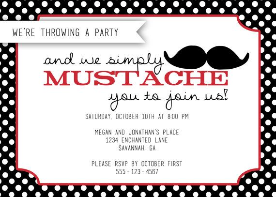 mustache party invitation diy printable invitation - Mustache Party Invitations