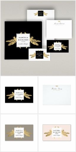 Coordinating suite of office supplies featuring a faux gold dragonfly logo. Ready to personalize for your brand! Business cards, social stationery, letterhead, binders and more. A beautiful design for interior designers, stylists and boutiques.
