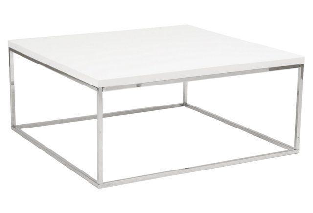 "Teresa 36"" Square Coffee Table, White"