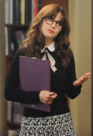 Zooey Deschanel's Black bow graphic sweater with collar on New Girl.  Outfit Details: http://wwzdw.com/z/4695/ #WWZDW