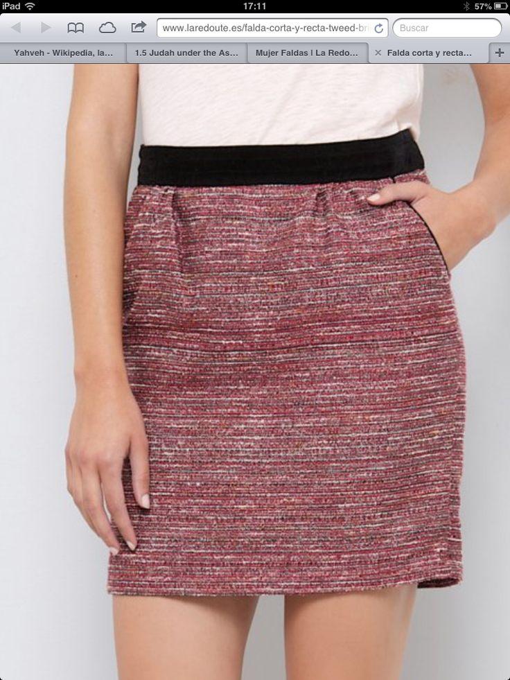Falda corta multicolor - tweed