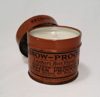 Old tin made into candle! www.antiquecandleworks.com