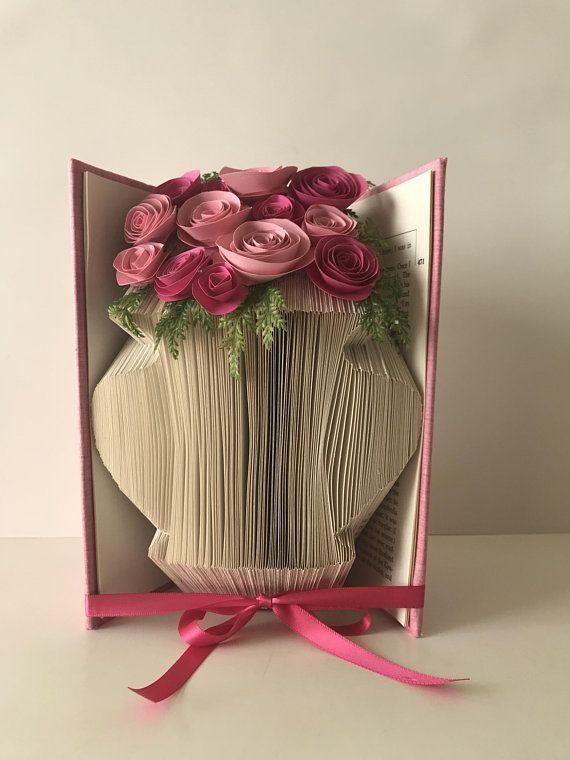 plie livre d art vases vase de maman art de l origami piece maitresse decoration de table bouquet de mariage anniversaire de papier fleurs en papier