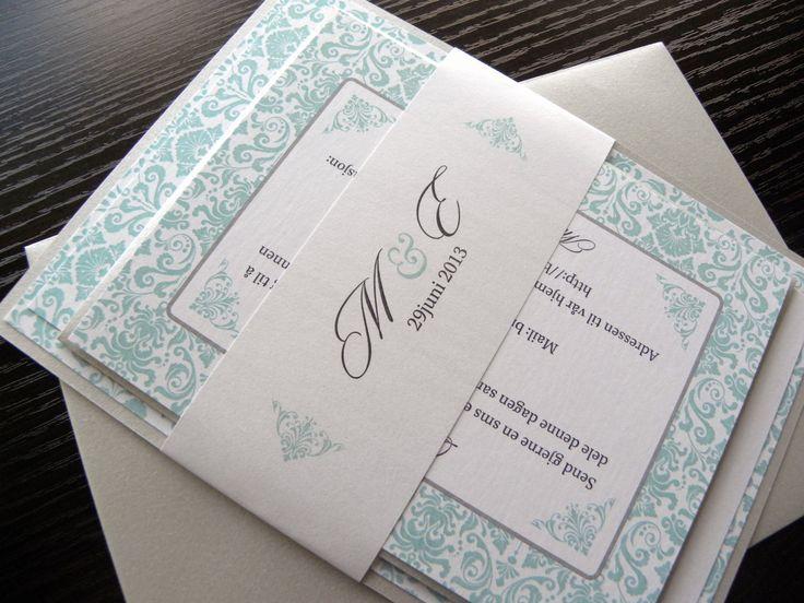 Damask Wedding Invitations in Aqua Blue & Silver or any colors - Layered Metallic Wedding Invitation Set - Citlali Creativo LLC - Wedding & Special Event Invitations - Seattle Burien, WA state and ship internationally
