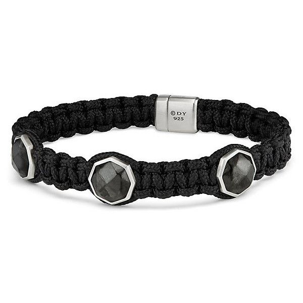David Yurman Forged Carbon Woven Three-Station Bracelet ($695) ❤ liked on Polyvore featuring men's fashion, men's jewelry, men's bracelets, mens cord bracelets, mens woven bracelets, mens leather braided bracelets, mens magnetic bracelets and david yurman mens bracelets
