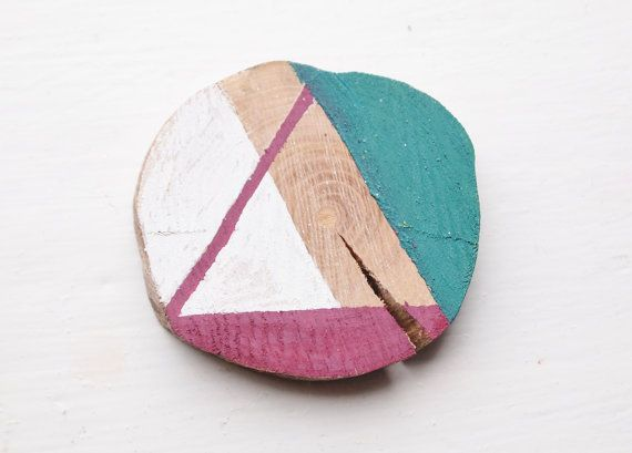 Claret and Emerald Brooch - Painted Branch, Woodland, Geometric Jewellery