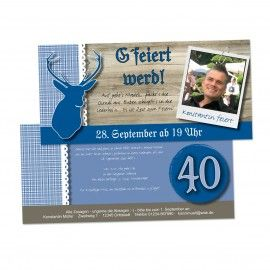 Einladungskarte G´feiert Werd Blau, Mit Eigenem Foto