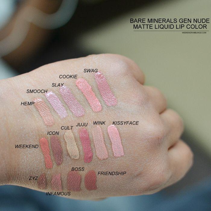 Bare Minerals Gen Nude Matte Liquid Lipcolor - Swatches Hemp - Light brown peach. Smooch - Faded lilac. Slay - Dusty light mauve. Cookie - Soft melon