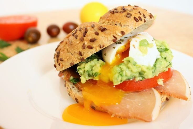 Healthy breakfast! Yummy! Guacamole and Poached Egg