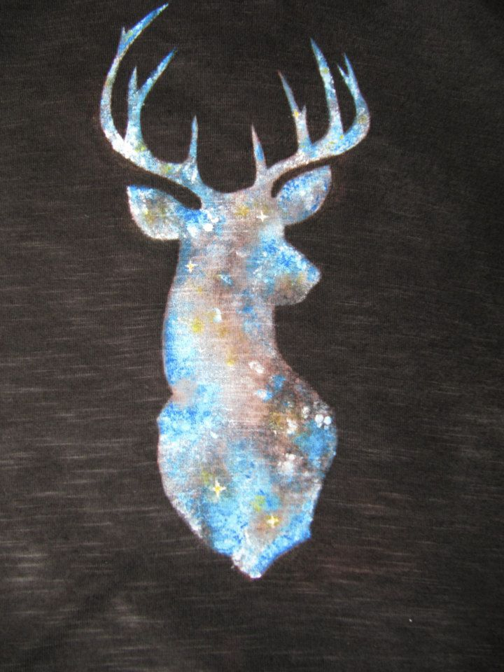 This is how I joined the galaxy-style fever from DIY blogs. Fabric paints. Deer