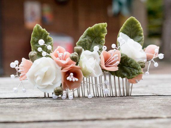 Bridal flower hair comb wedding accessories by VerdiWealth on Etsy