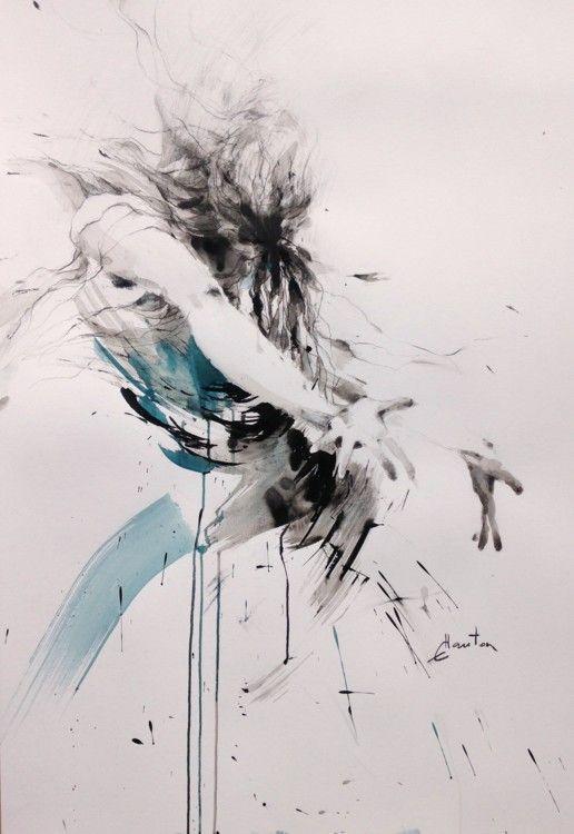 danse bleue - Peinture, 70x100 cm ©2016 par ewah - Peinture contemporaine, Femmes, ewa hauton, danse en peinture, mouvement en peinture, peinture à l'encre, dessin, peinture sur papier, bleu