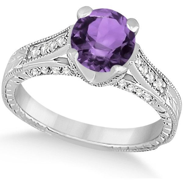 Allurez Diamond & Amethyst Antique Engagement Ring 14k White Gold... ($2,175) ❤ liked on Polyvore featuring jewelry, rings, antique diamond rings, antique amethyst rings, diamond rings, antique engagement rings and round engagement rings #antiquejewelry