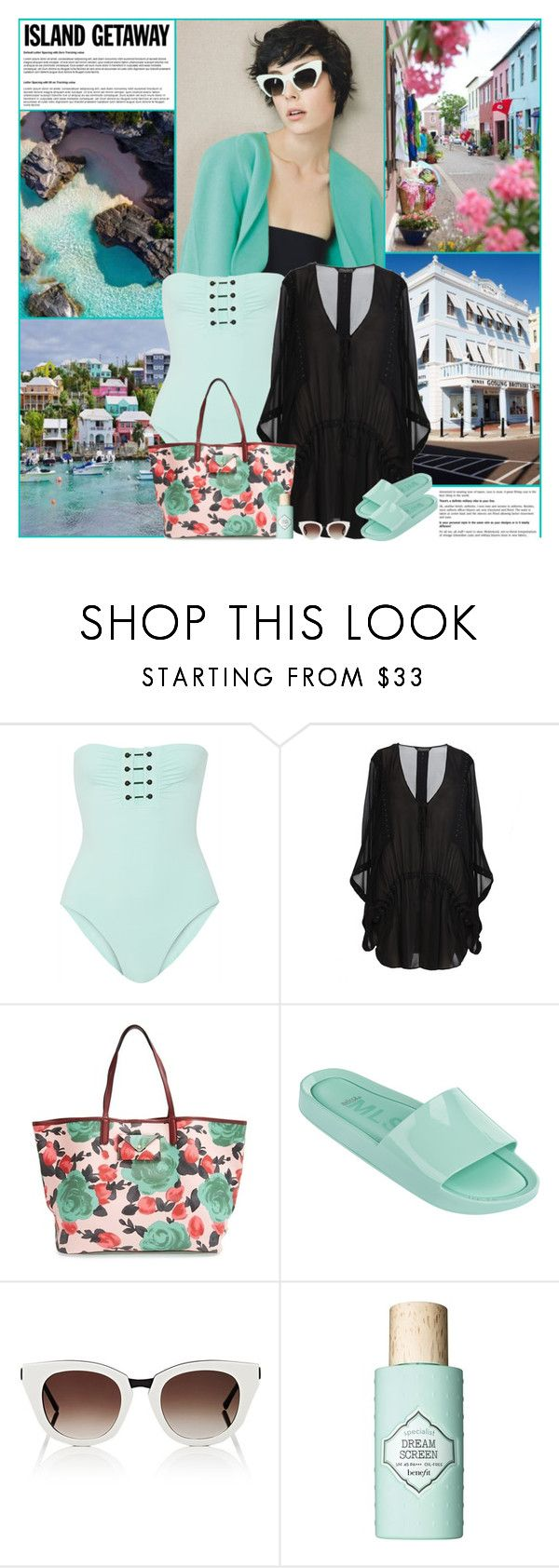 """""""Chic Island Getaway"""" by kittyfantastica ❤ liked on Polyvore featuring Proenza Schouler, AllSaints, Marc by Marc Jacobs, Melissa, Thierry Lasry and Benefit"""