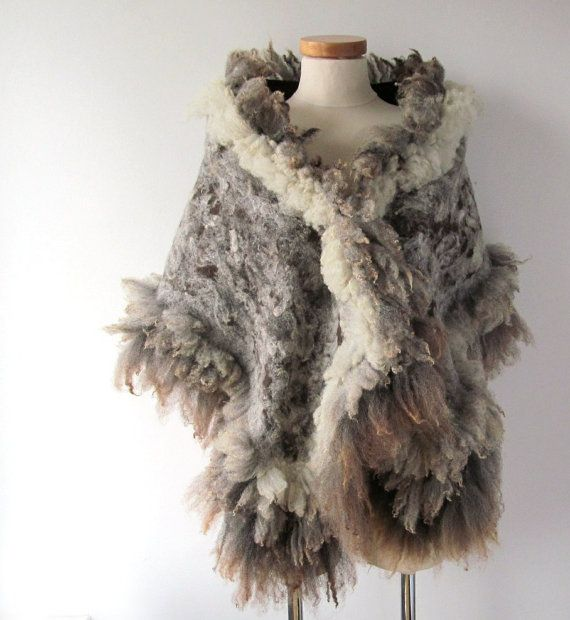 Felted scarf  stole    brown grey   raw wool curly  by galafilc, $167.00