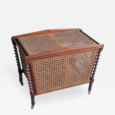 19th C English Regency Mahogany And Cane Sewing Box