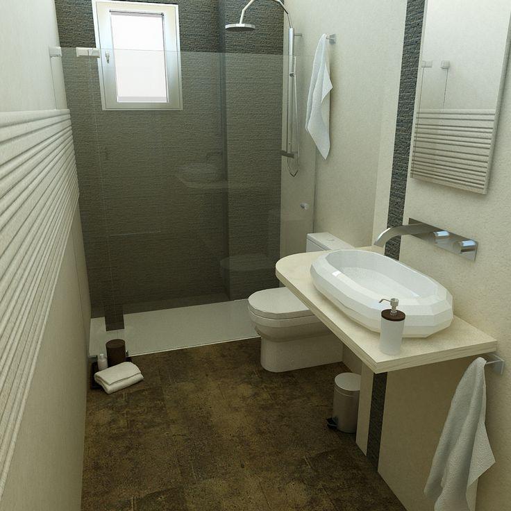 Baño diseñado por Fábrica de Arquitectura para una promoción de viviendas plurifamiliares en Sevilla. Los materiales y los aparatos sanitarios son de la empresa Porcelanosa.