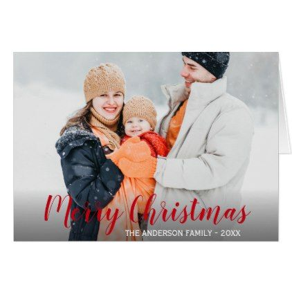 Merry Christmas Family Photo Fold Card R - holiday card diy personalize design template cyo cards idea
