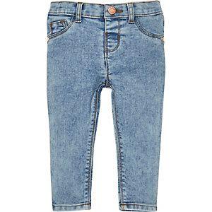 Blauwe acid wash skinny jeans voor mini girls