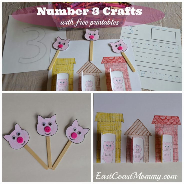 ADORABLE Number THREE Crafts... The Three Little Pigs. Includes FREE printable templates.