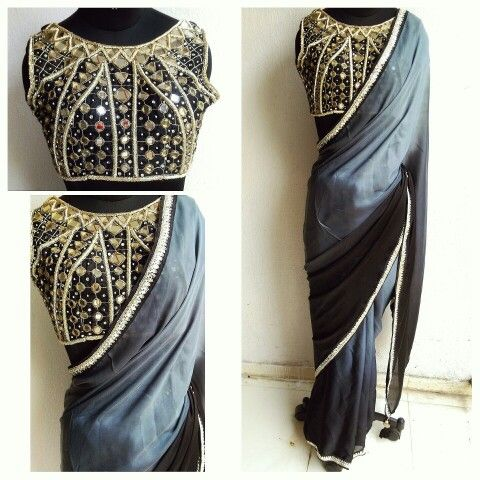 Silk noir. Ombre grey to black sari with mirror work blouse and mirror worked kundan border. Purchase on our website now.