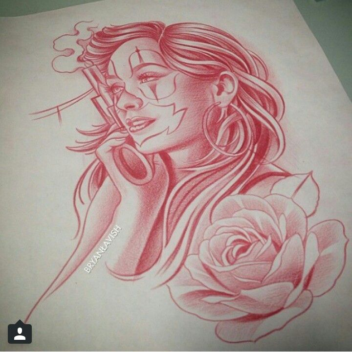 chicano clown gun rose tattoo drawing tattoos pinterest tattoo drawings guns and roses. Black Bedroom Furniture Sets. Home Design Ideas