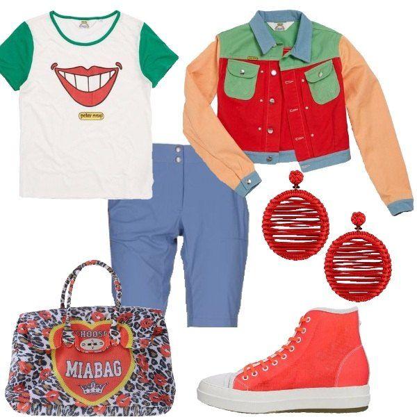 Allegro e colorato questo insieme di pantaloncini e t-shirt con abbinato un coloratissimo giacchetto di jeans. Anche scarpe e borsa sono particolari, in tessuto tecnico la maxi borsa leopardata e le sneakers alte in tessuto tecnico e scamosciato.