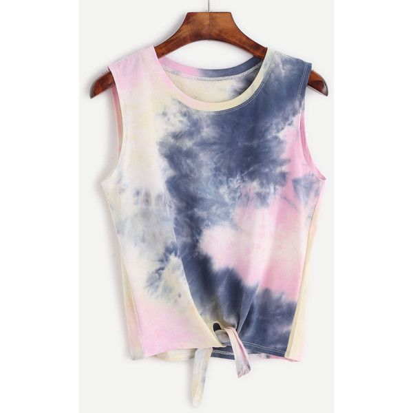 SheIn(sheinside) Tie Dye Knot Front Tank Top ($9) ❤ liked on Polyvore featuring tops, multi color, cami top, stretch camisole, camisole tank top, knot front top and cami tank tops