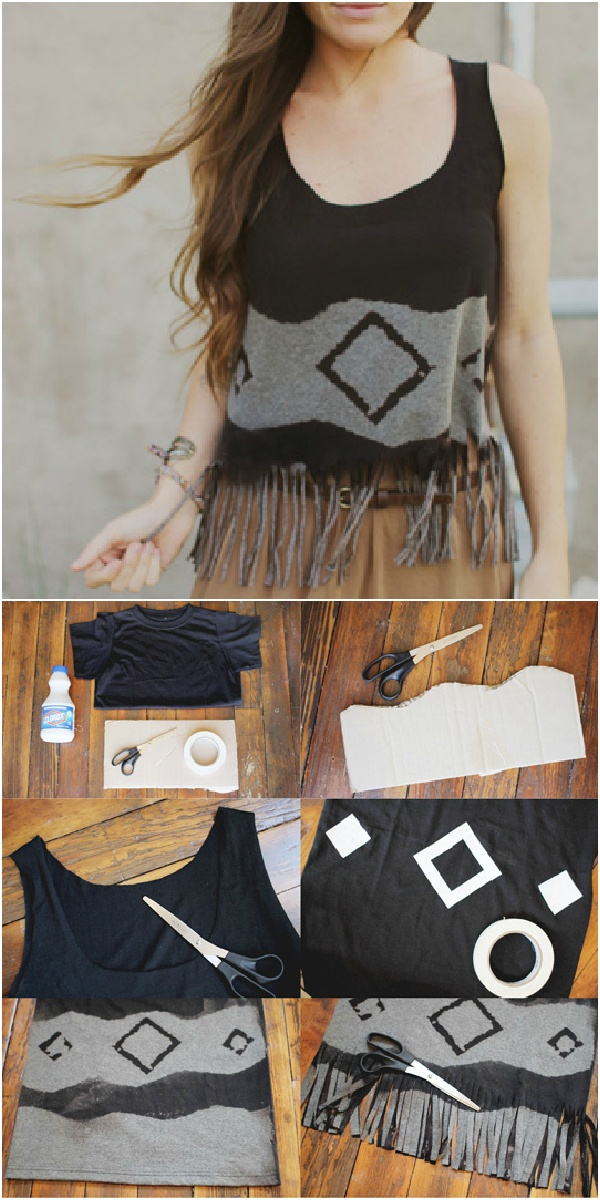 Geometric Fringed Crop Top DIY (by Sincerely, Kinsey on Violet Bella) I like the bleaching design, but I would so without the fringe.
