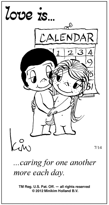 Love Each Other Cartoon: ...caring For One Another More Each Day.