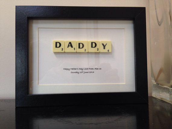Personalised Fathers Day gift letter tile style by MySilverPenguin