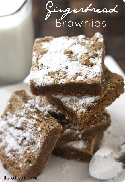 Gingerbread Brownies : https://therecipecritic.com These are so easy and delicious!!  And they are only 3 ingredients!