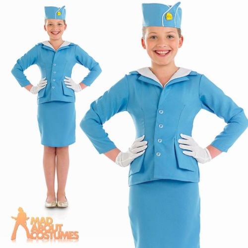 #Girls air #hostess #stewardess costume child blue cabin crew fancy dress age 4-1,  View more on the LINK: http://www.zeppy.io/product/gb/2/181665690063/